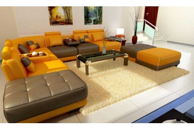 Modern 5004 Orange and Brown Italian  leather sectional 1 Left IN STOCK!!!!