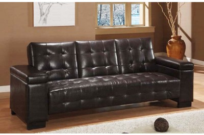 Co-341 Sofa Bed.  Brown Leather or Tan Fabric