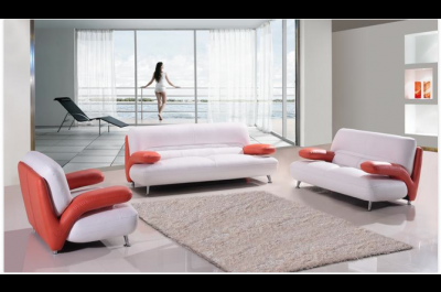 Modern Leather Sofa and Loveseat P509