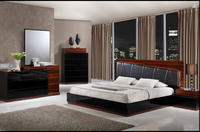 40% OFF Laura Modern Black/ Wenge Lacquered Queen bed w/2 nightstands with Black leather headboard and lead lighting
