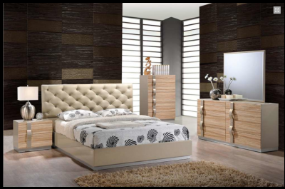 Evelyn modern maple lacquered bedroom set star modern - Contemporary maple bedroom furniture ...