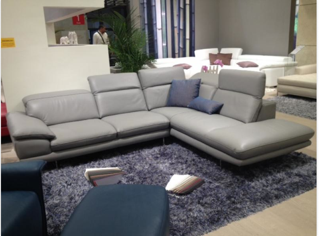 modern full italian light gray leather sectional h932m