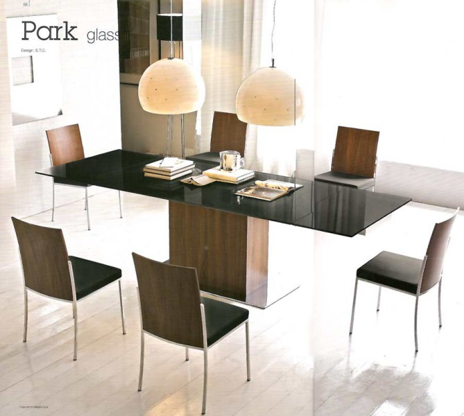 Calligaris PARK Extendable Glass Top Dining Table