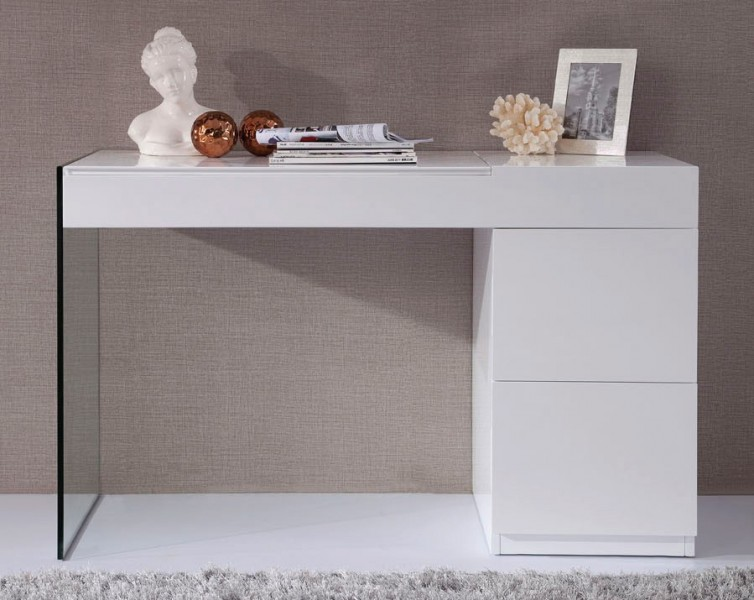 Volare Modern Glass Leg Console Table with Drawers GE Console