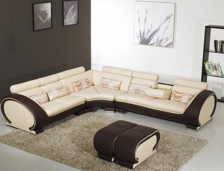 816 Modern Cream And Brown Leather Sectional Sofa Ge