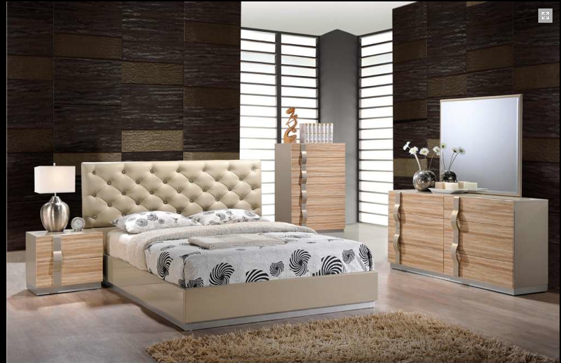 Evelyn modern maple lacquered bedroom set modern - Contemporary maple bedroom furniture ...