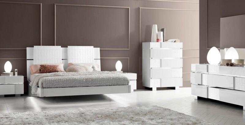 Caprice White Modern Italian Bedroom Set N Modern Bedroom