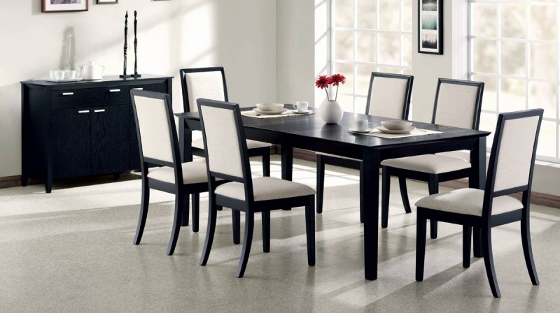 Black Extendable Dining Table black finish extendable dining table - c119201 - contemporary