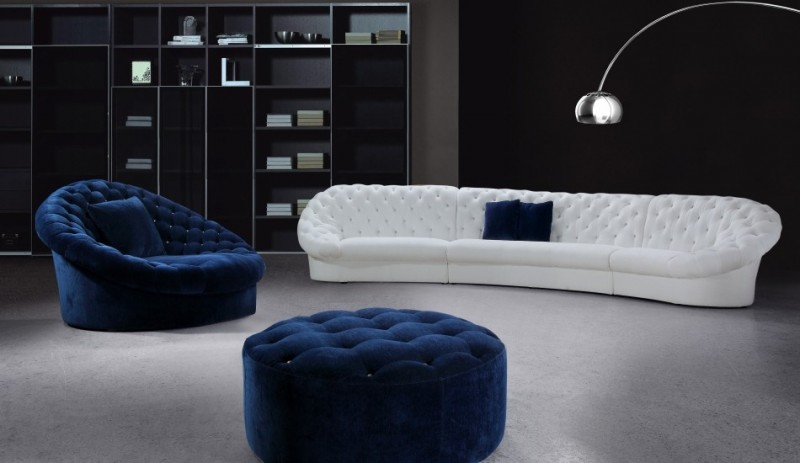 Blue And White Sofa Set With Ottoman