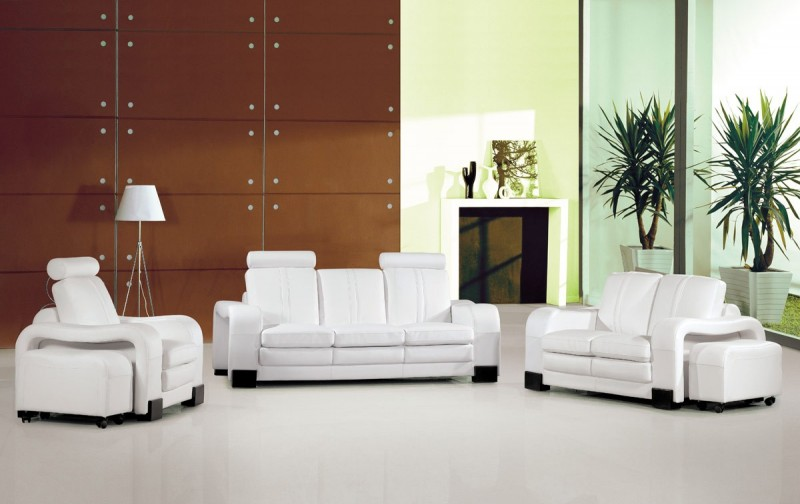 Remarkable 3339 White Leather Sofa Set With Detachable End Tables Machost Co Dining Chair Design Ideas Machostcouk