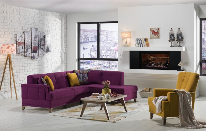 Cantona Sectional (Zigana Purple/Yellow) sofabed - Fabric ...