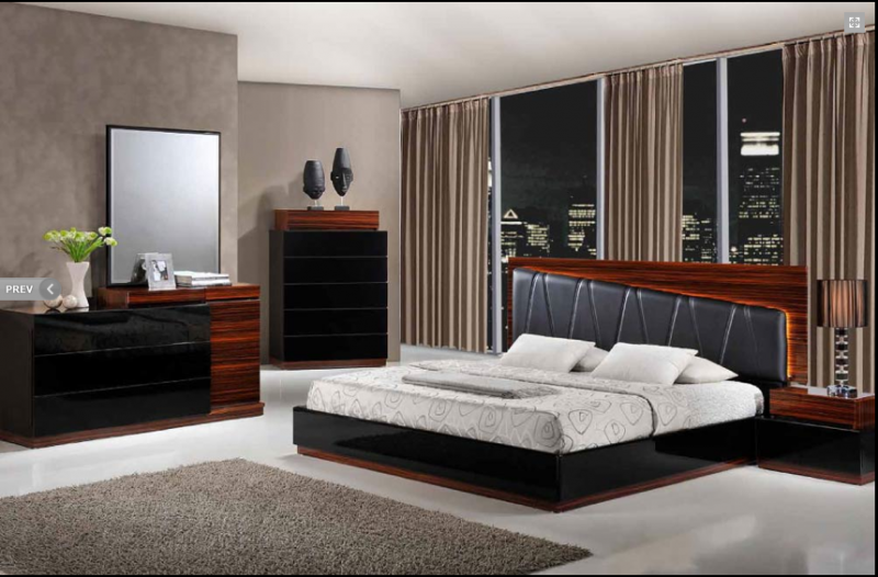 Laura Modern Black Wenge Lacquered Bedroom Set With Black