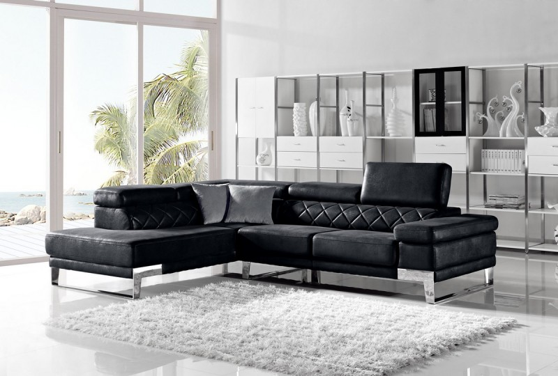 Modern Leather Sectional Sofa : Aiden - Modern Leather Sectional Sofa Set-GE Star Modern Furniture