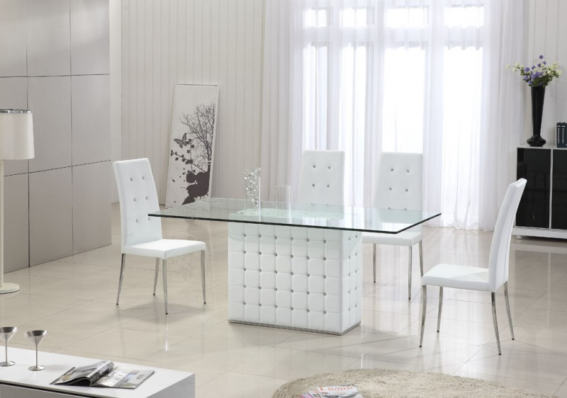 Modern Clear Glass Dining Table With Crystals