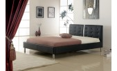 Modern Bonded Leather Black Bed with Crystals