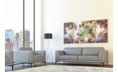 Moroni 578 Grey Modern full Italian leather sofa set