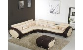 816 Modern Cream and Brown Leather Sectional Sofa-GE