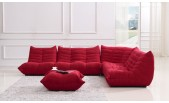 Blum Red Fabric Sectional Sofa