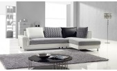 Modern Gray and White Fabric Sectional -EA