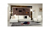 K8364 - Modern White Cow Accented Sectional Sofa Set - GE