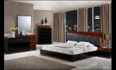 Laura Modern Black/ Wenge Lacquered bedroom set with Black leather headboard and lead lighting