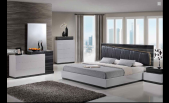Laura Modern Silver/Grey Lacquered bedroom set with Black leather headboard and lead lighting