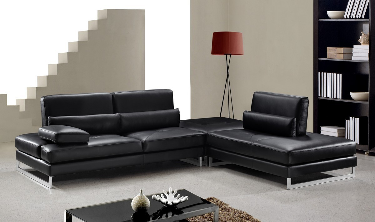 Tango modern leather sectional sofa ge leather for Modern living sofa