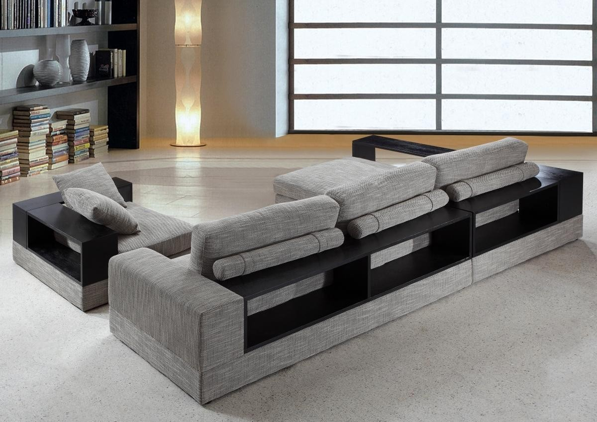 Anthem Grey Brown Fabric Modern Sectional With Wood