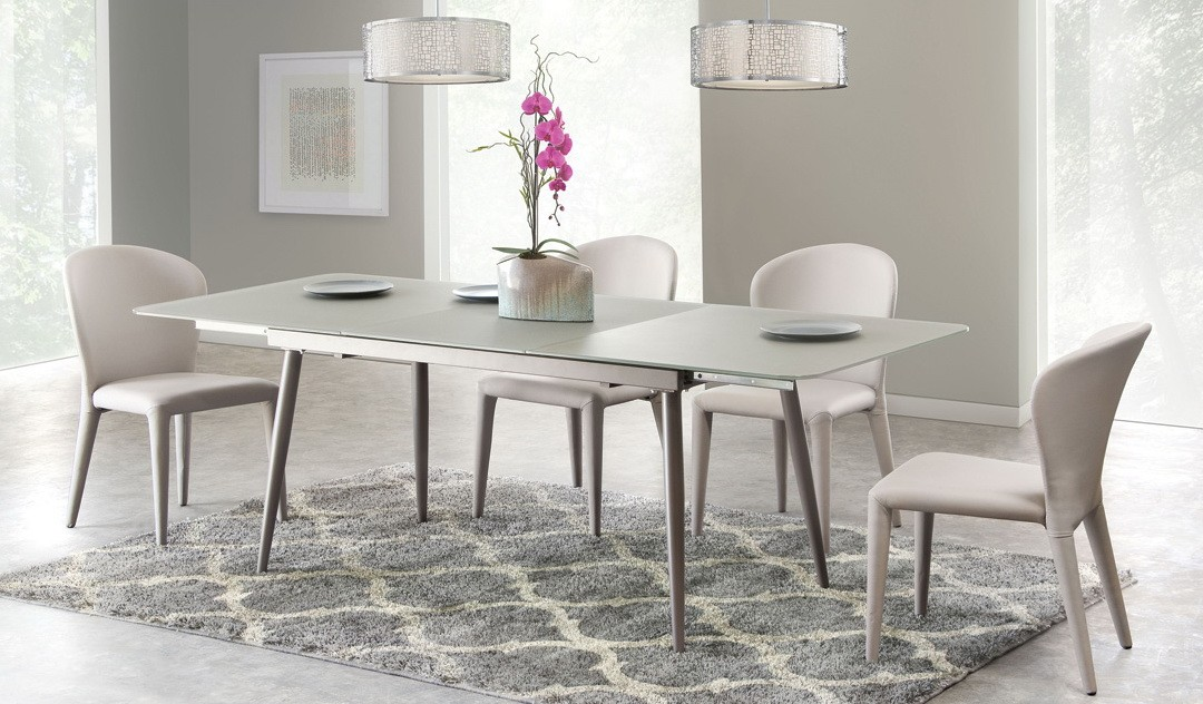 Dark Wood Finish Modern Dining Room W Optional Items: Modern Glass Dining Table With Extension W/4 Side Chairs
