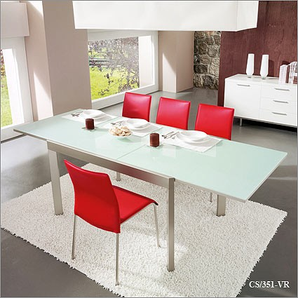 Bon Calligaris Elasto Glass Top Extendible Kitchen Table   CS/351 VR
