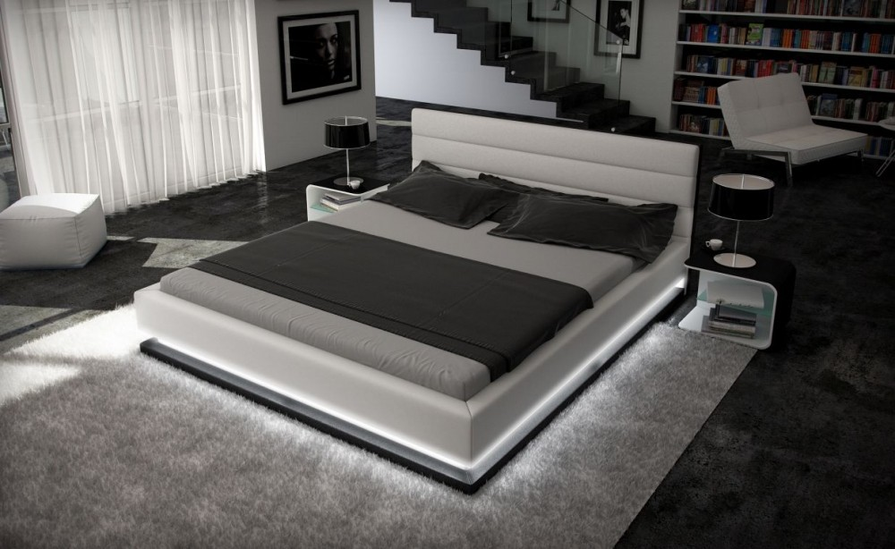 Inmod Contemporary Leather Bed With Light Ge Modern