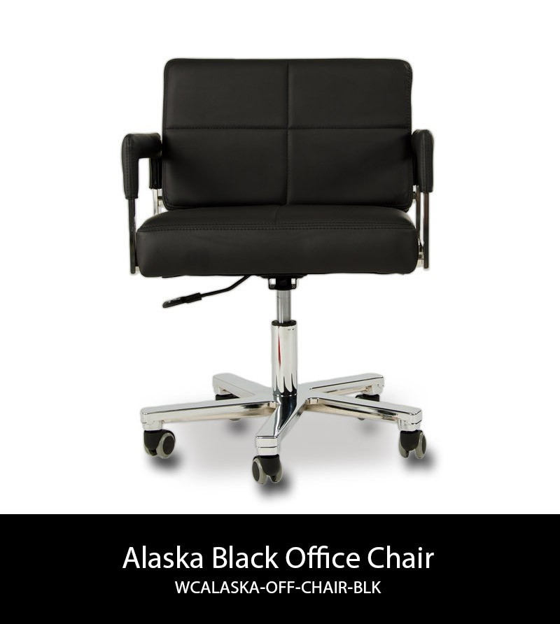 Alaska Modern Black Leather Office Chair Computer Chairs