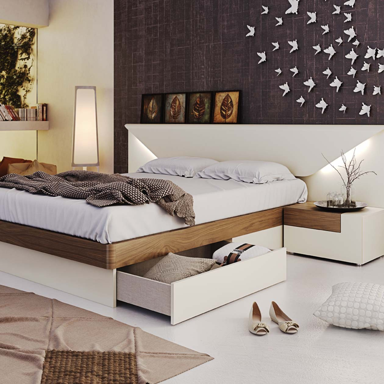 Contemporary Modern Beds: Elena Modern Italian Bedroom Set