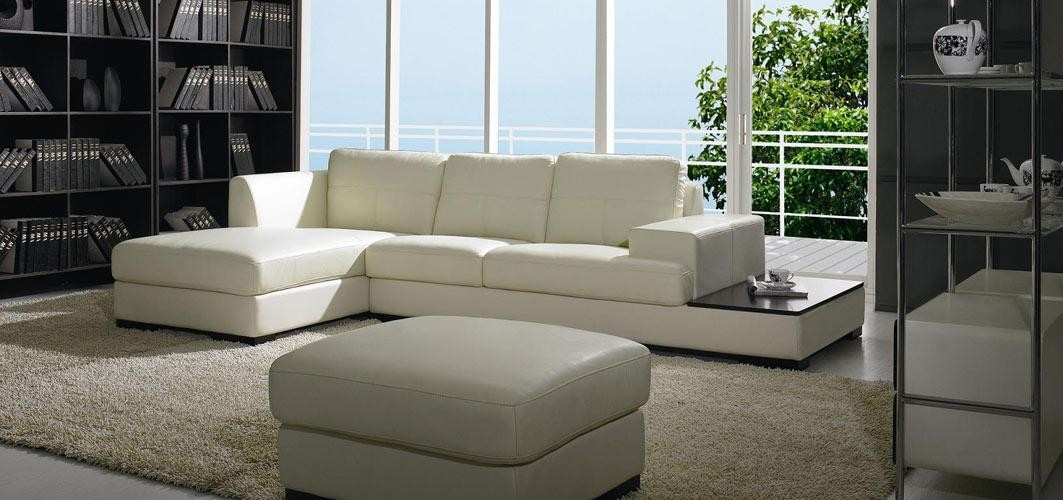 BO 3983 - Contemporary Low Profile Leather Sectional Sofa ...