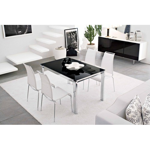 Calligaris baron metal black glass extendable dining for Calligaris baron