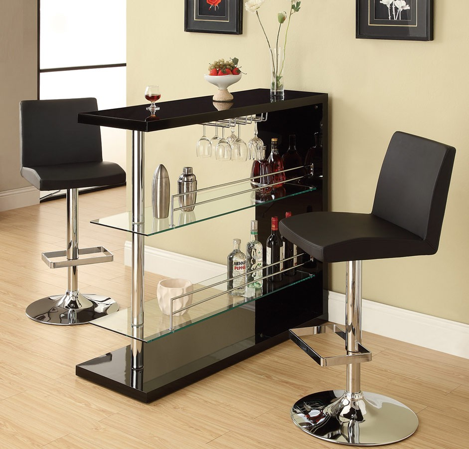 Black Home Bar Furniture: Contemporary Bar Table