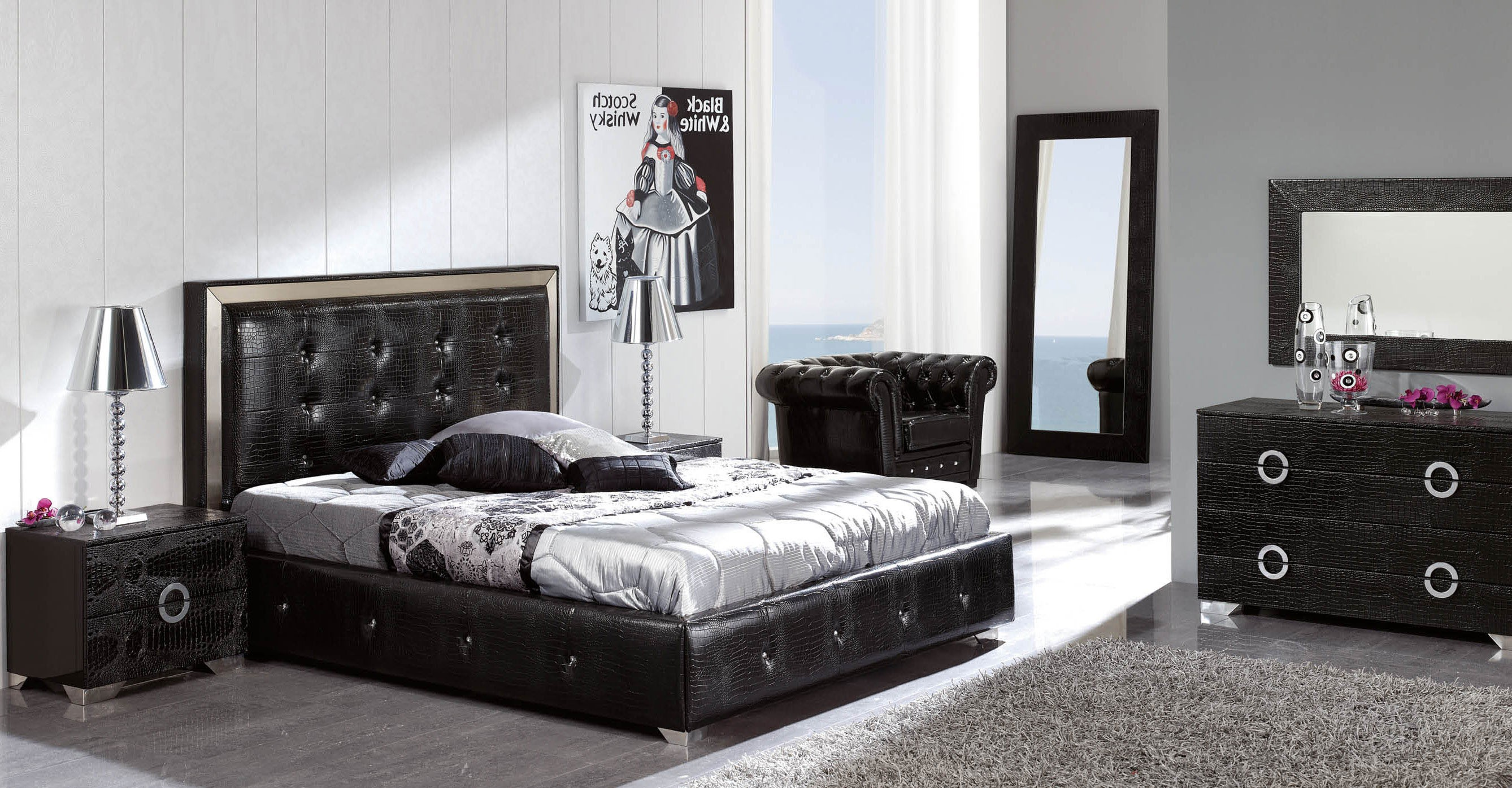 Coco Black Modern Italian Bedroom Set N Star Modern