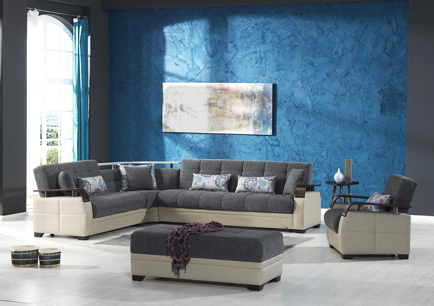 Dancing Sofa Bed Sectional In Nordby Gray Fabric