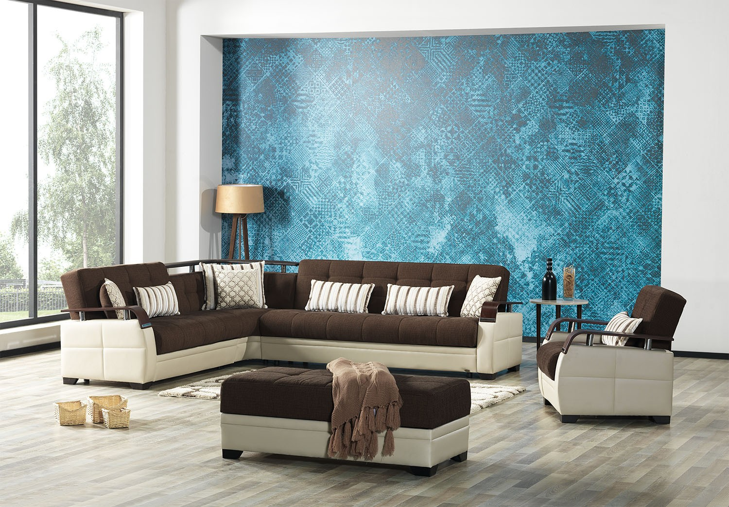 Dancing sofa bed sectional in Nordby Gray - Fabric ...