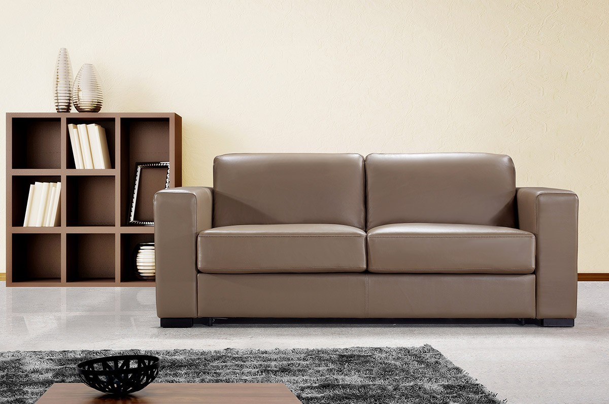 Dual Modern Chocolate Brown Leather Sofa Bed Sofa Beds