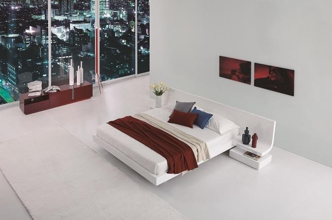 Firenze White Lacquer Platform Bed With Built In