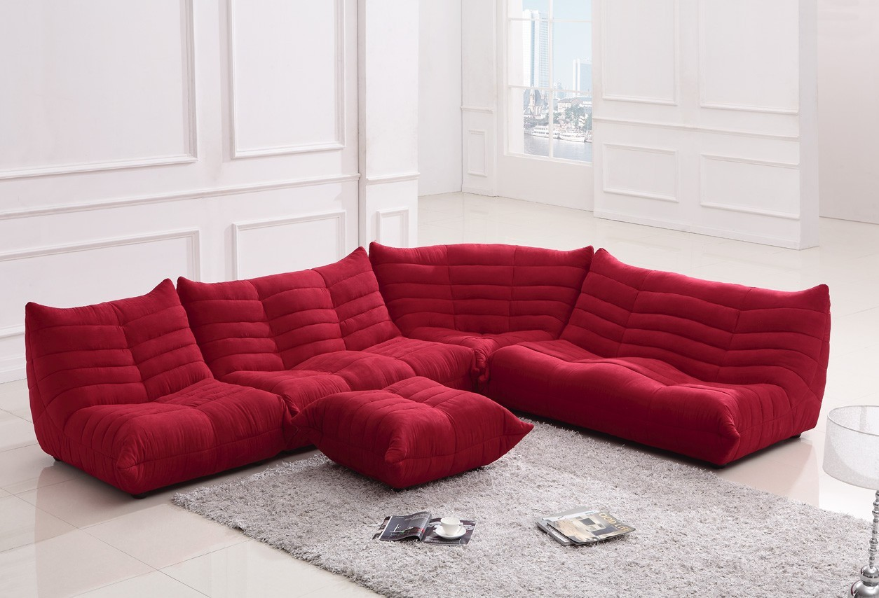 Blum Red Fabric Sectional Sofa Fabric Sectionals