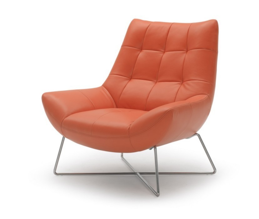 A728 modern orange leather lounge chair ge accent for Modern leather club chair