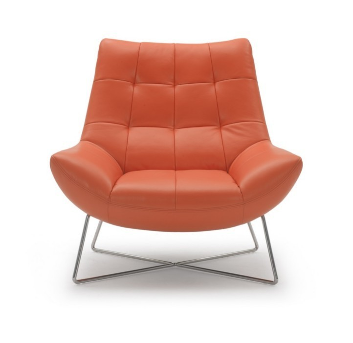 A728 Modern Orange Leather Lounge Chair GE Accent Chairs Living Room