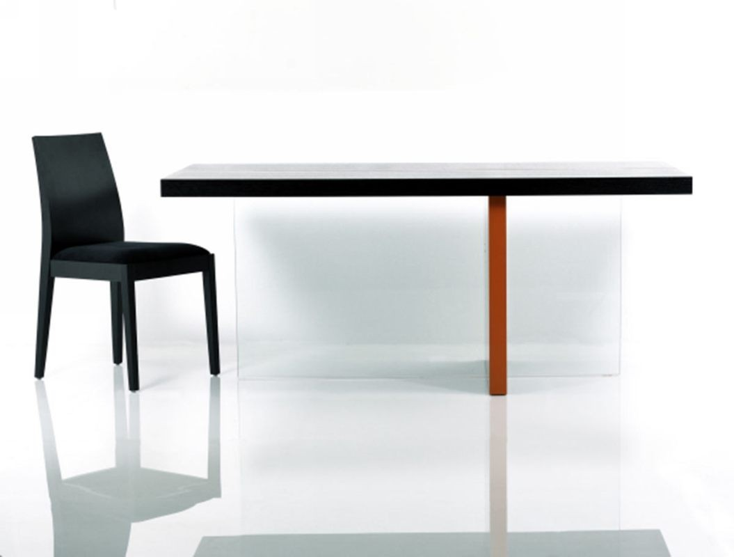 Vision modern black glossy floating dining table for Floating dining table