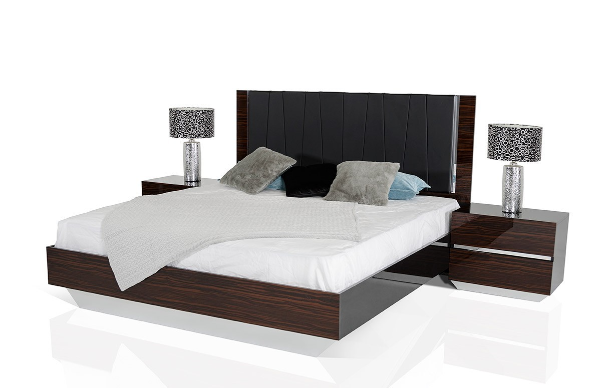 Modrest Luxor Italian Modern Ebony Lacquer Bedroom Set