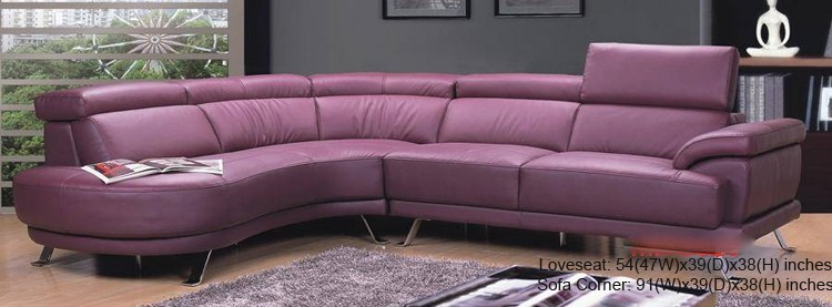 Beau Modern Purple Leather Sectional 0298  MA