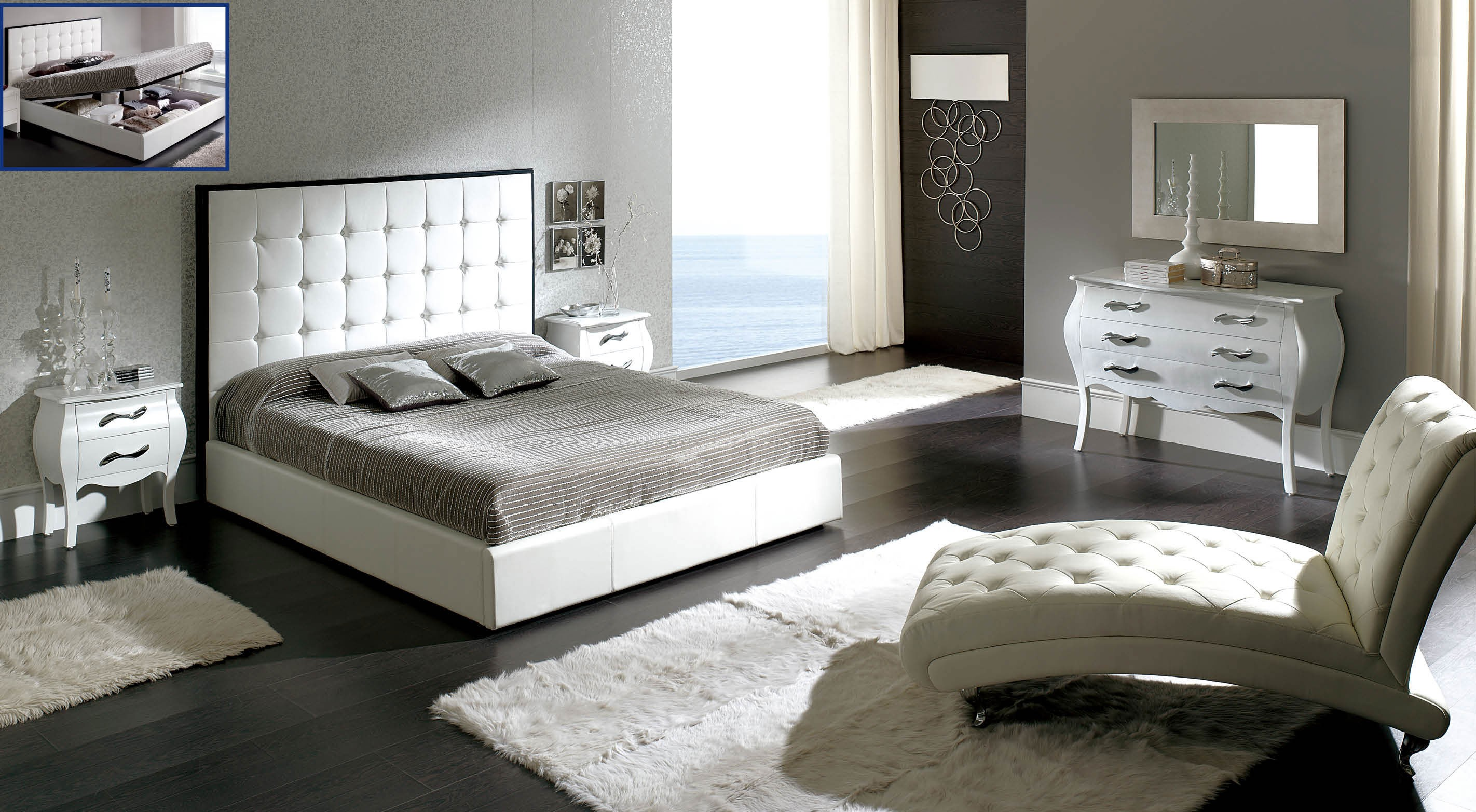 Peninsula white modern italian bedroom set n star modern for Italian bedroom furniture