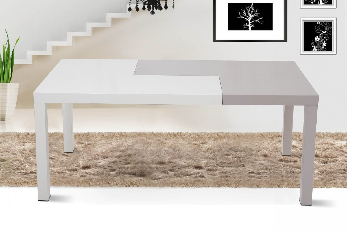 Puzzle modern two tone dining table modern dining for 2 tone dining room tables