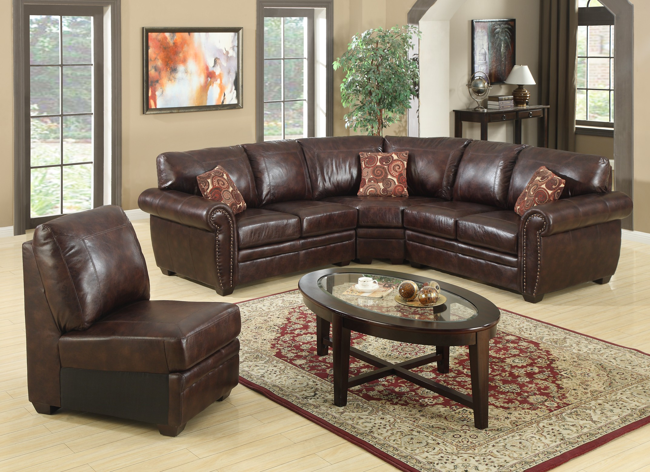 Brown Simulated Leather Sectional - B 527 - Classic ...
